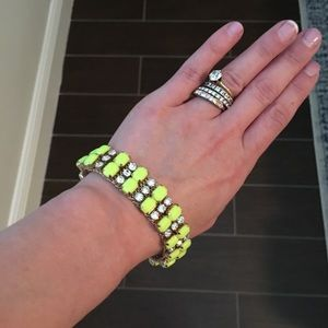 J. Crew mesh with neon-yellow and Faux diamond